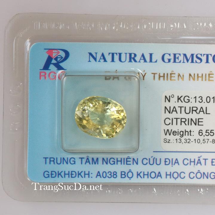 Viên đá kiểm định thạch anh vàng DVM6.55