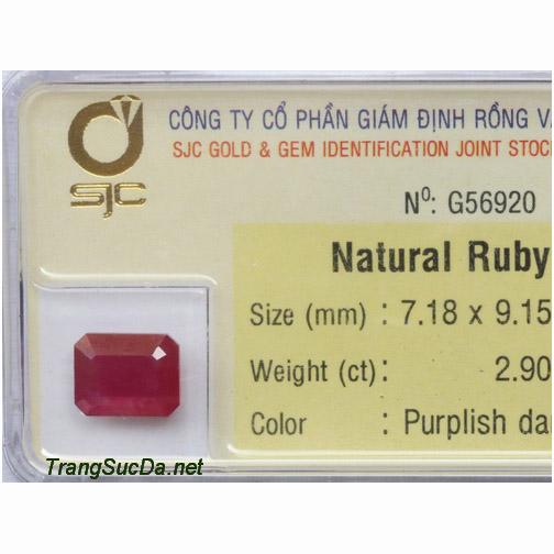 Viên đá ruby kiểm định tự nhiên DRBG2.90