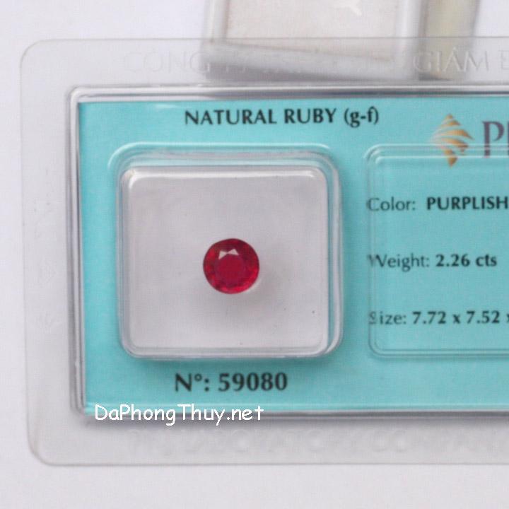 Viên đá ruby kiểm định tự nhiên RBG2.26