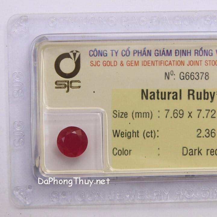 Viên đá ruby kiểm định tự nhiên RBG2.36