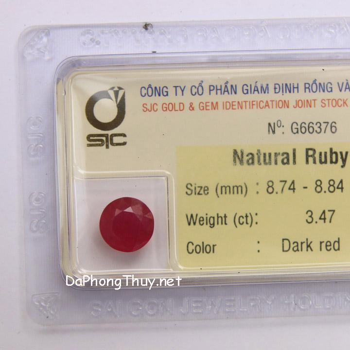 Viên đá ruby kiểm định tự nhiên RBG3.47