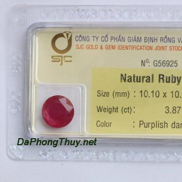 Viên đá ruby kiểm định tự nhiên RBG3.87
