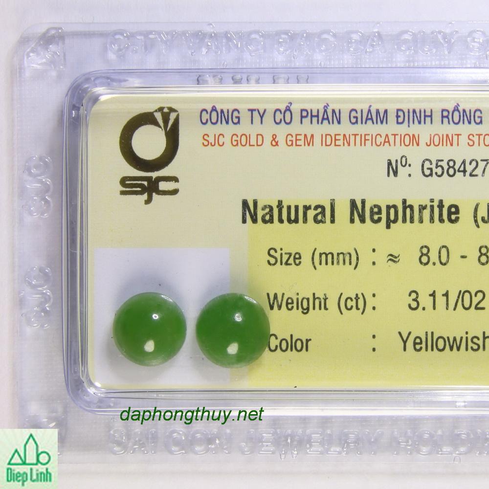Cặp bông tay ngọc bích nephrite DNBKD3.11