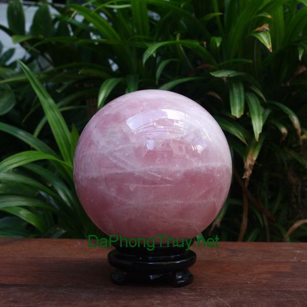 Quả cầu thạch anh hồng thiên nhiên HC10.8