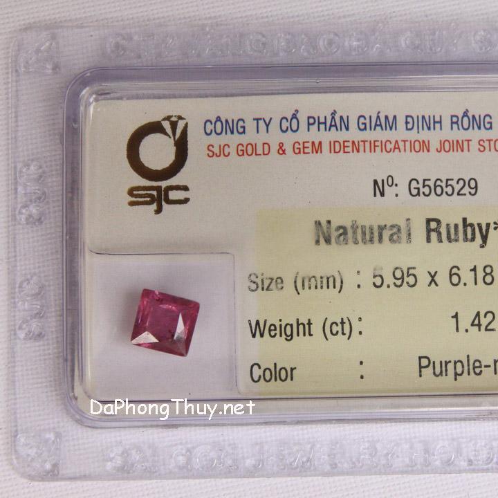 Viên đá ruby kiểm định tự nhiên RBG1.42
