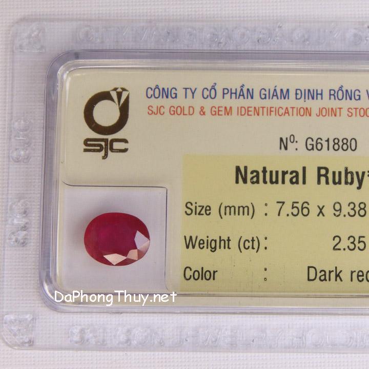 Viên đá ruby kiểm định tự nhiên RBG2.35