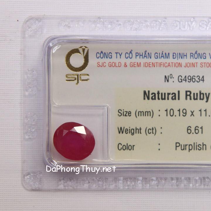 Viên đá ruby kiểm định tự nhiên RBG6.61