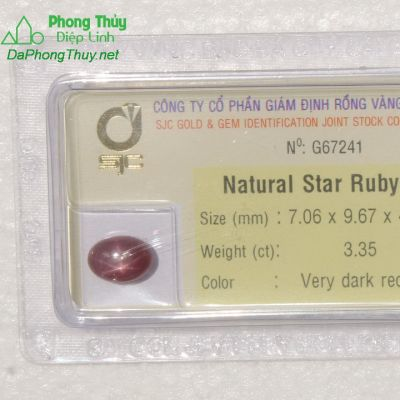 Viên đá ruby sao kiểm định tự nhiên RBS3.35