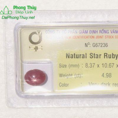 Viên đá ruby sao kiểm định tự nhiên RBS4.98