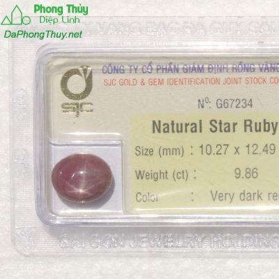 Viên đá ruby sao kiểm định tự nhiên RBS9.86