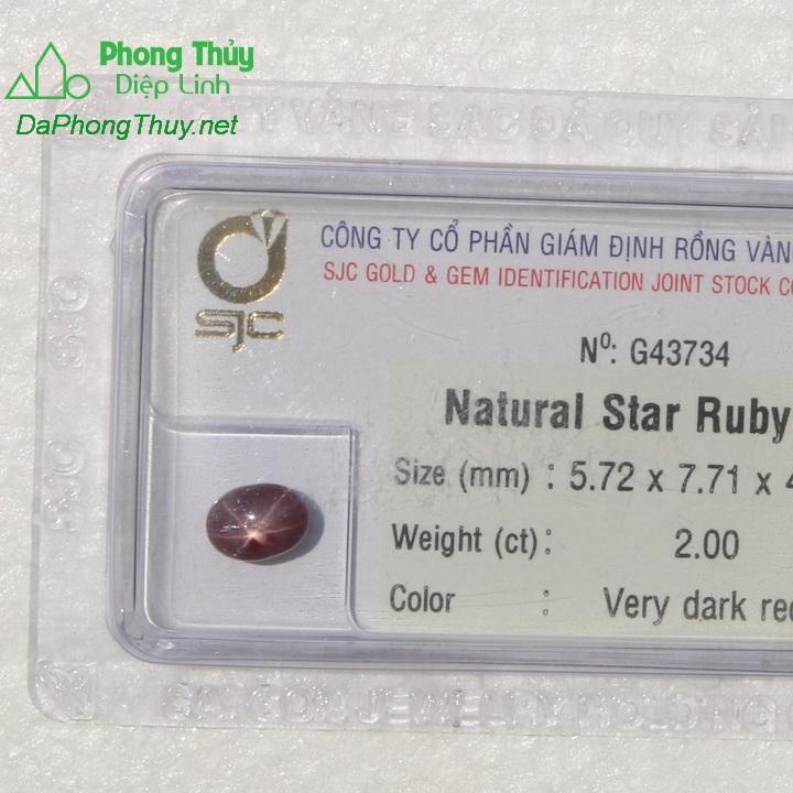 Viên đá ruby sao kiểm định tự nhiên RBS2