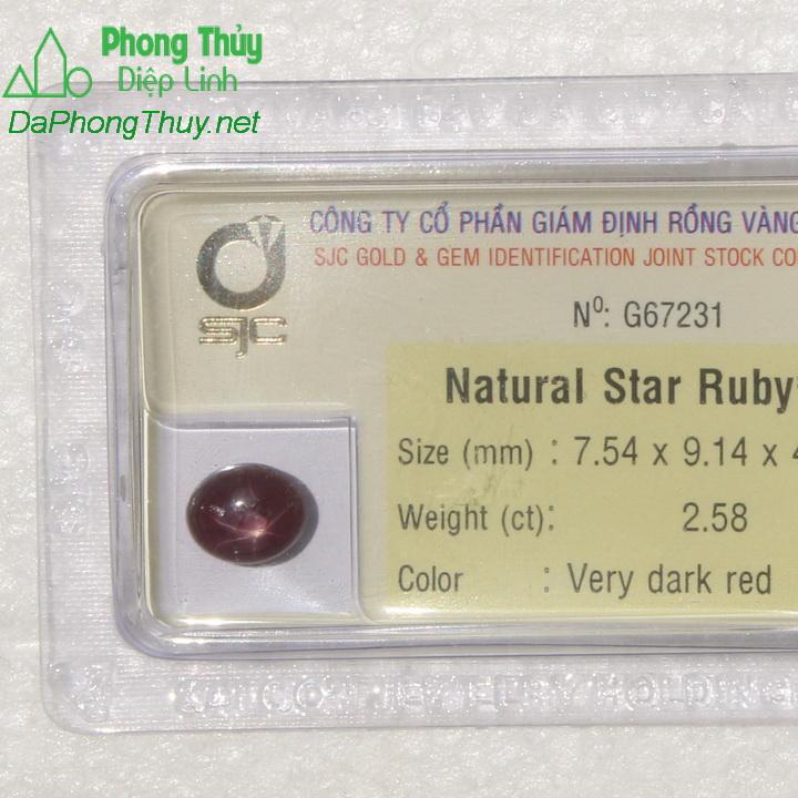 Viên đá ruby sao kiểm định tự nhiên RBS2.58