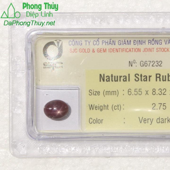 Viên đá ruby sao kiểm định tự nhiên RBS2.75