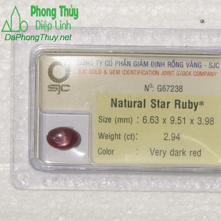 Viên đá ruby sao kiểm định tự nhiên RBS2.94