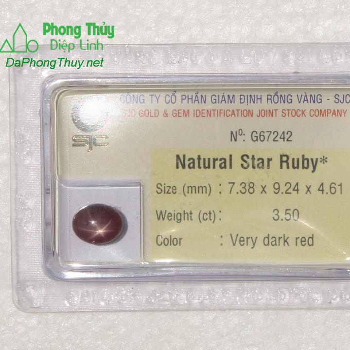 Viên đá ruby sao kiểm định tự nhiên RBS3.5