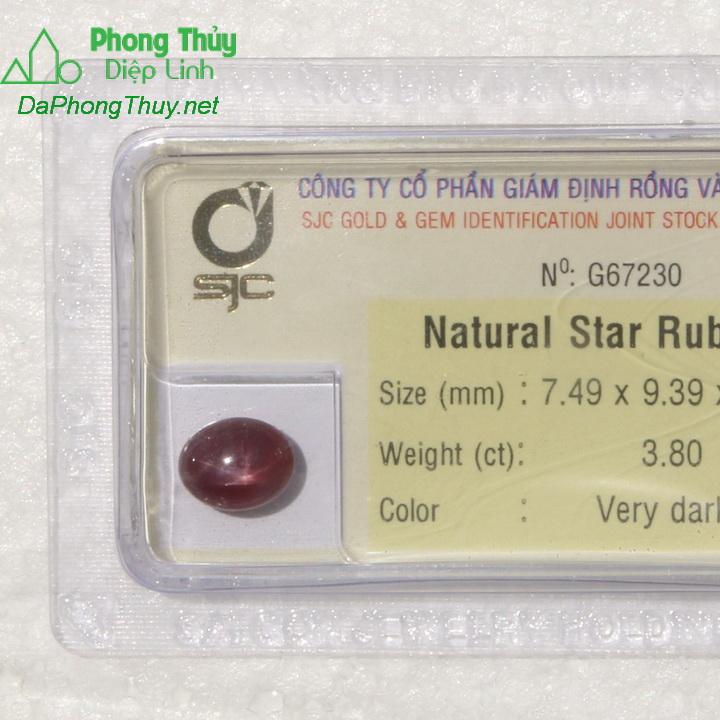 Viên đá ruby sao kiểm định tự nhiên RBS3.8