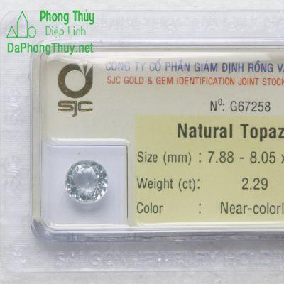 Viên đá phong thuỷ topaz trắng pazt2.29
