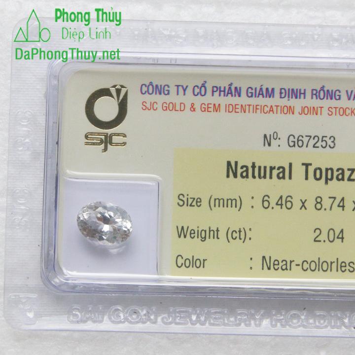 Viên đá phong thuỷ topaz trắng pazt2.04