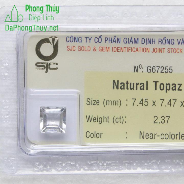 Viên đá phong thuỷ topaz trắng pazt2.37