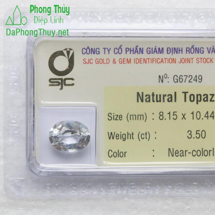 Viên đá phong thuỷ topaz trắng pazt3.5
